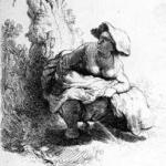 """Rembrandt """"frau uriniert an einen baum"""""""