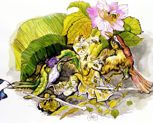 """""""L'uccellino del miele e il colibrì"""" ……le api uscirono precipitosamente…… pag. 32"""